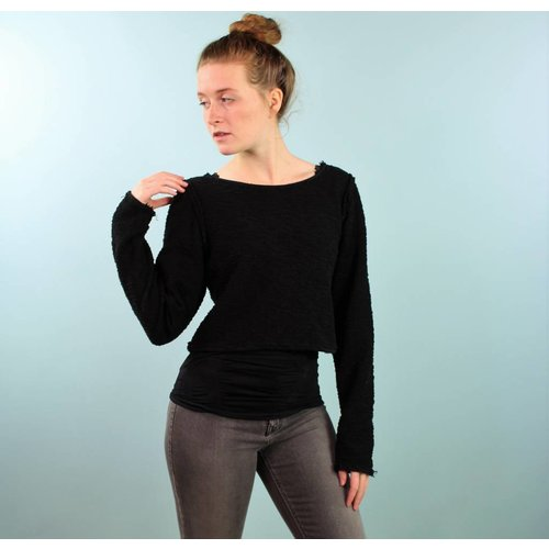 Sarah Bibb Alexis Sweater -  Reversible Black Fr Terry