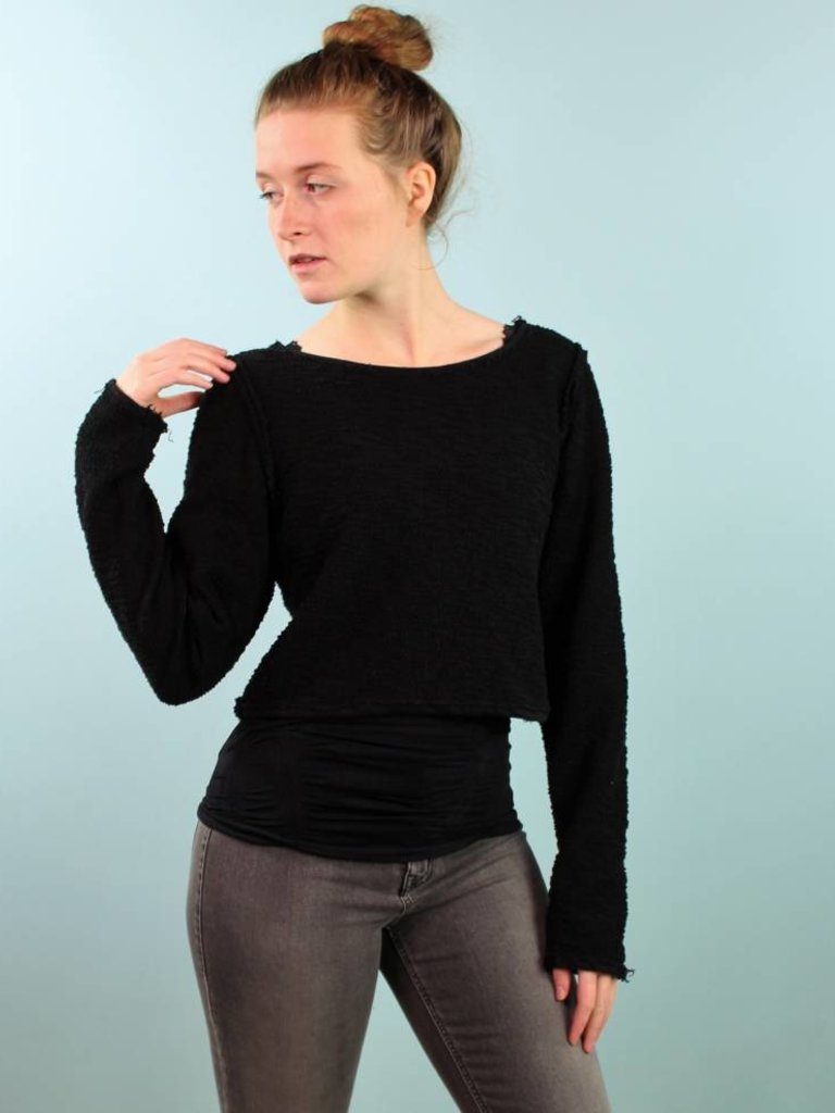 Sarah Bibb Alexis Sweater -  Reversible Black Fr Terry