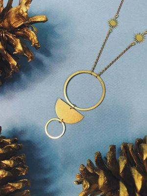 Nicole Weldon Drop Swing Necklace - Brass
