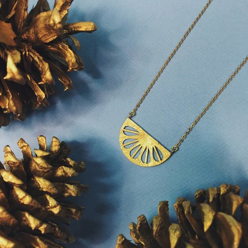 Nicole Weldon Parasol Necklace - Brass