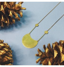 Nicole Weldon Waning Necklace - Brass