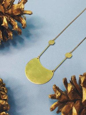 Nicole Weldon Waning Necklace - Brass