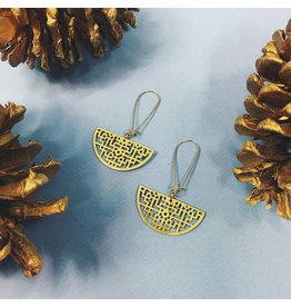 Nicole Weldon Piper Earrings Brass