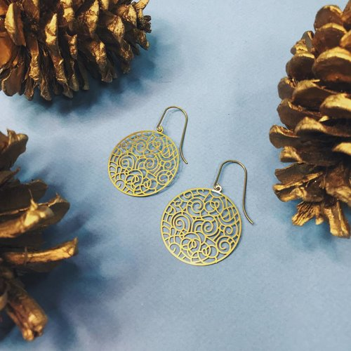 Nicole Weldon Eli Earrings - Brass