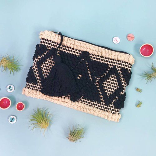 Ink & Alloy Loomed Clutch - Natural Black
