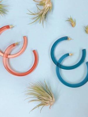 Ink & Alloy Lucite Hoop Earrings - Multiple Colors
