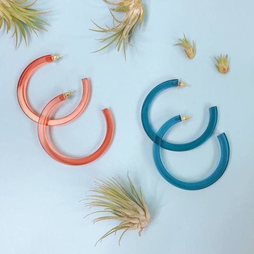 Ink & Alloy Lucite Hoop Earrings - Multiple Colors