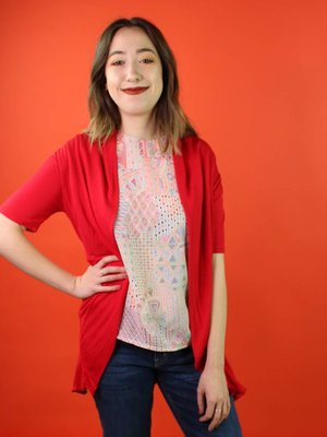 Sarah Bibb Camellia Sweater - Cherry