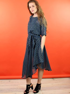Sarah Bibb Sarah Dress - Goldie Teal Dot