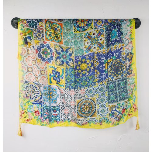 Johnny Was Silk Tassel Scarf - Tile