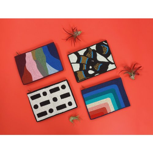 Ink & Alloy Beaded Clutch - Multiple Colors