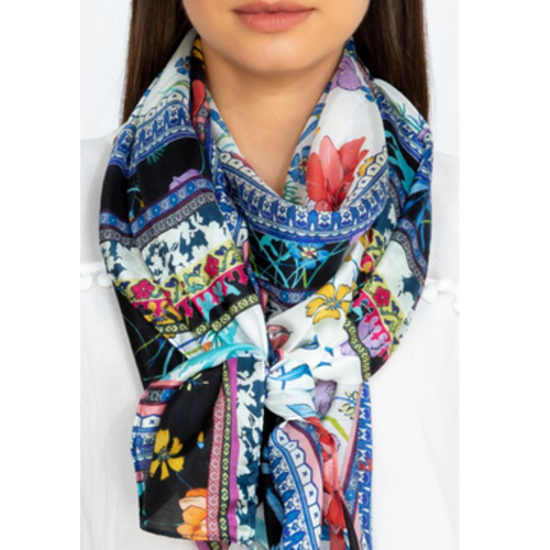 Johnny Was Rectangle Silk Scarf - Invo