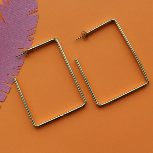 Ink & Alloy Rectangle Hoop - Brass