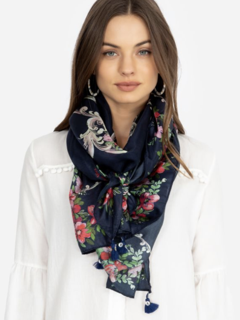 Johnny Was Rectangle Silk Scarf - Moco