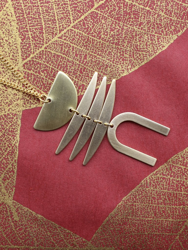 Nicole Weldon Bones Necklace - Brass