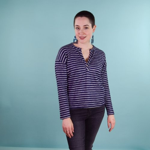 Coin Henley - Navy Stripe
