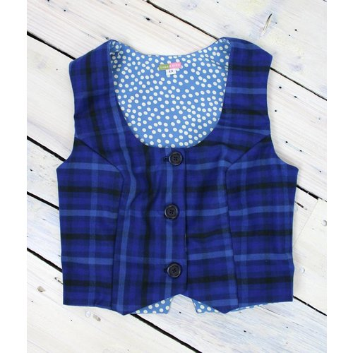 Sarah Bibb Anna Vest - Blue Plaid