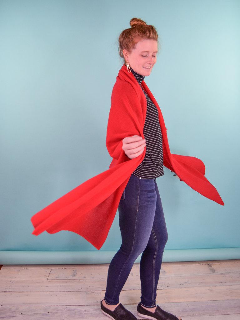 Oats Addy Cashmere Wrap - Poppy