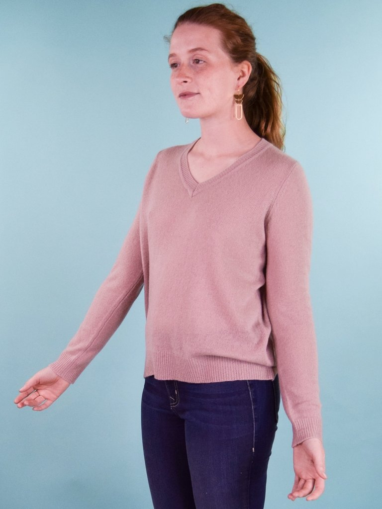 Oats Kena V-neck Cashmere Sweater - Blush