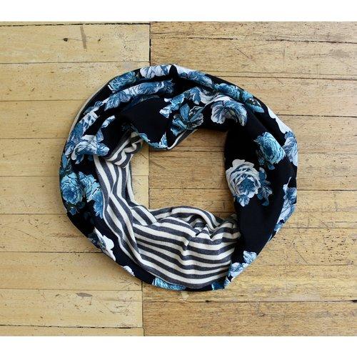 Sarah Bibb Single Loop Infinity Scarf - Stripe/Blue Rose