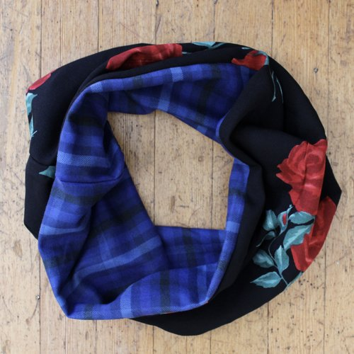 Sarah Bibb Single Loop Infinity Scarf - City of Roses/Plaid