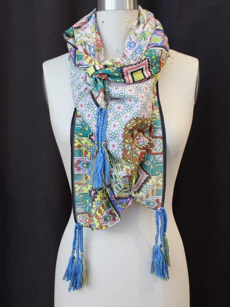 Johnny Was Silk Tassel Scarf - Indianio