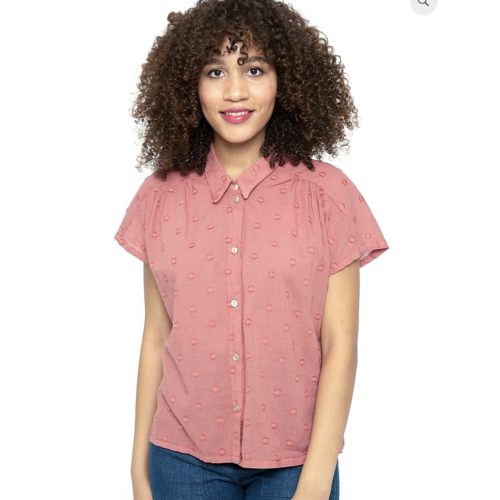 Cameo Carol Blouse - Papaya dot