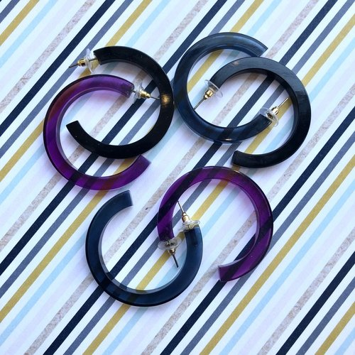 Ink & Alloy Small Lucite Hoop - Multi Color
