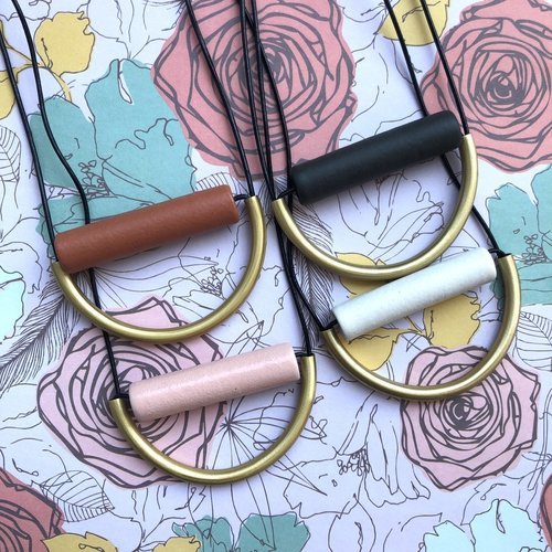 Ink & Alloy Ceramic & Leather Necklace - Multiple Colors