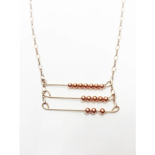Mon Coeur Venteux Triple Row Copper Necklace