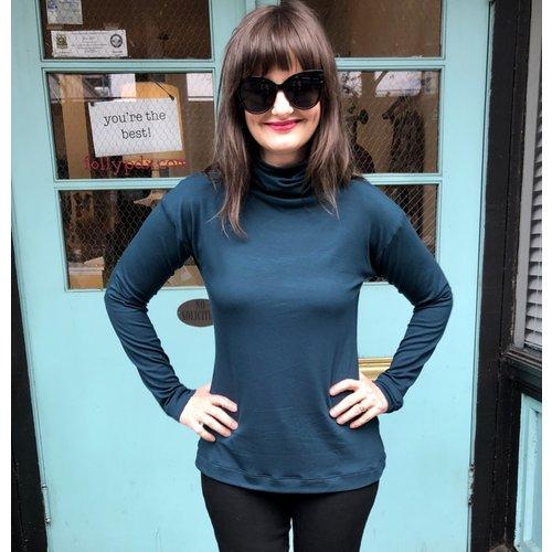 Sarah Bibb Tasha Turtleneck - Cyan