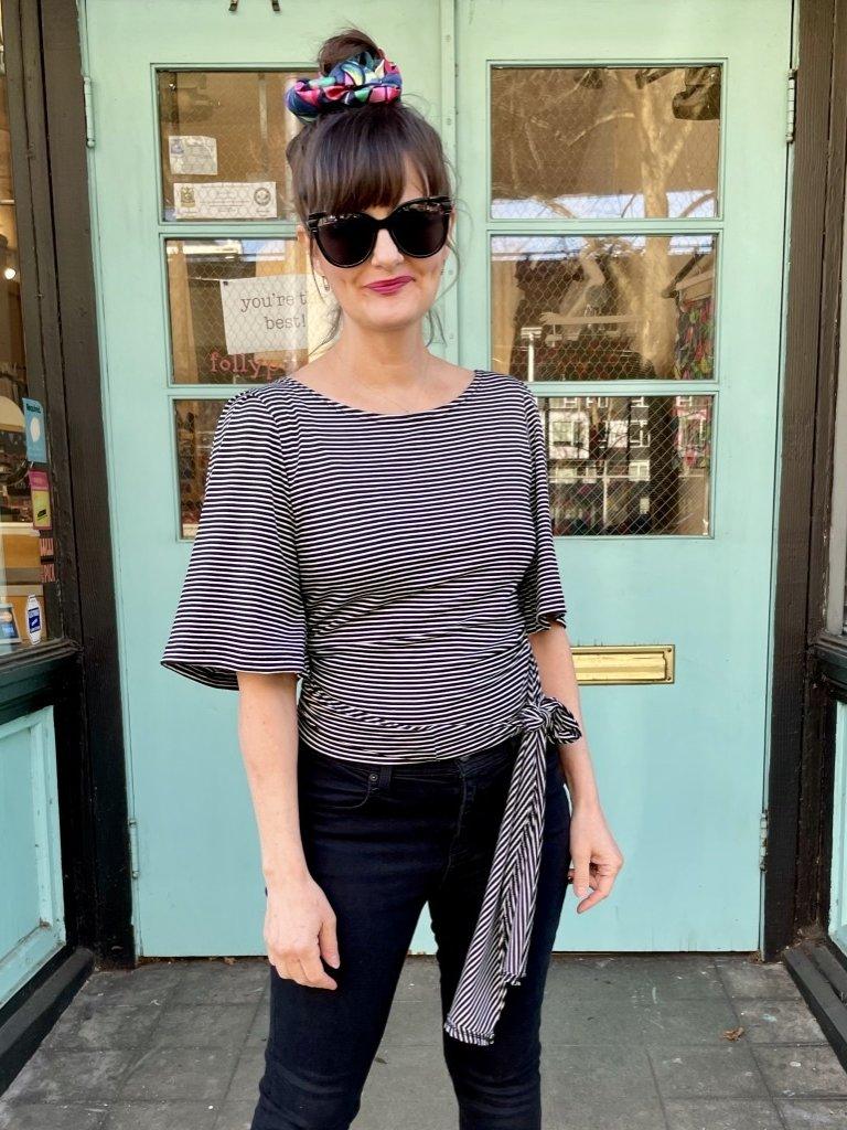Sarah Bibb Irina Wrap Top - Classic Stripe