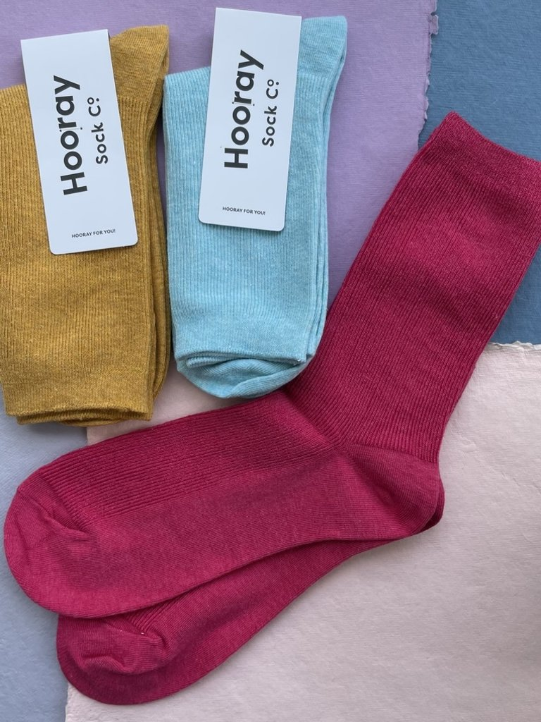 Hooray Everyday 3 Pack Socks - Goldenrod/Red/Seafoam
