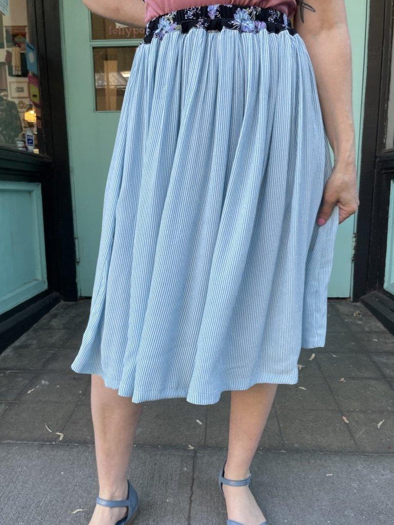 Sarah Bibb Mina Skirt - Sky Stripe