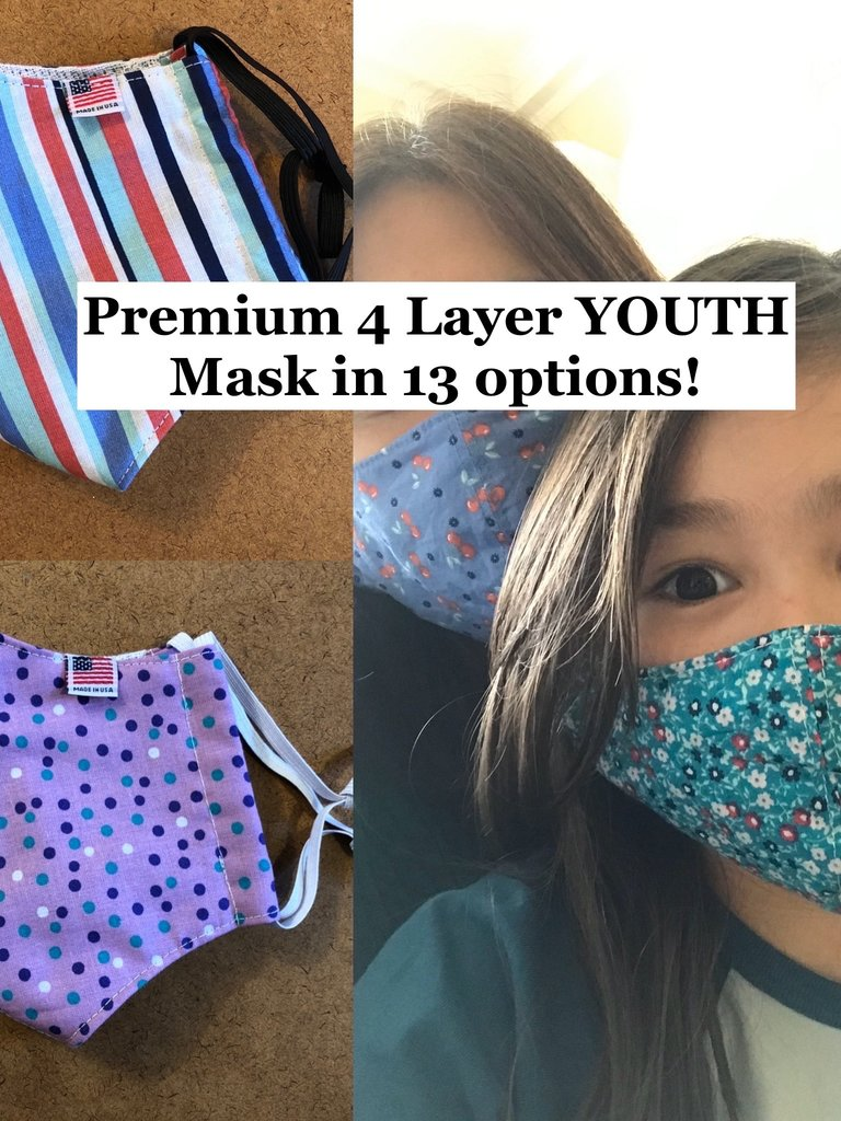 Busy Mushroom Premium 4 Layer YOUTH Mask - Multiple Colors