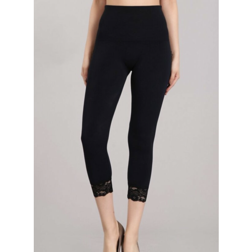 M Rena Tummy Tuck Legging w/ Lace Trim - Navy