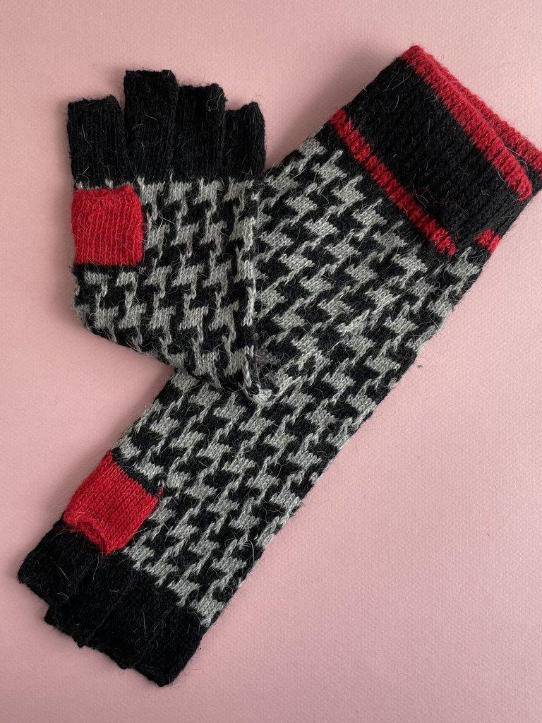 Long Fingerless Gloves - Houndstooth