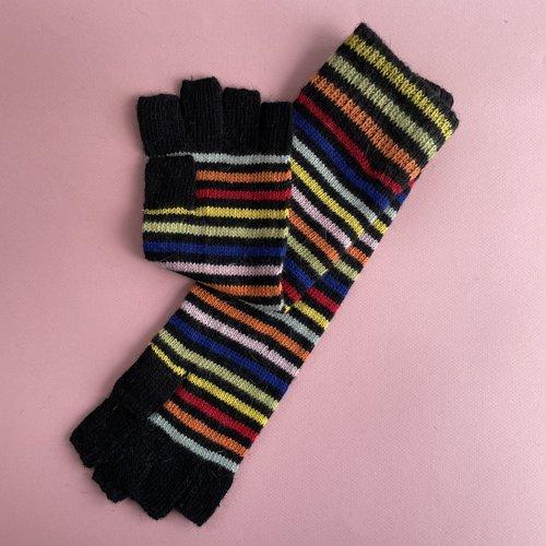 Long Fingerless Gloves - StripeZone