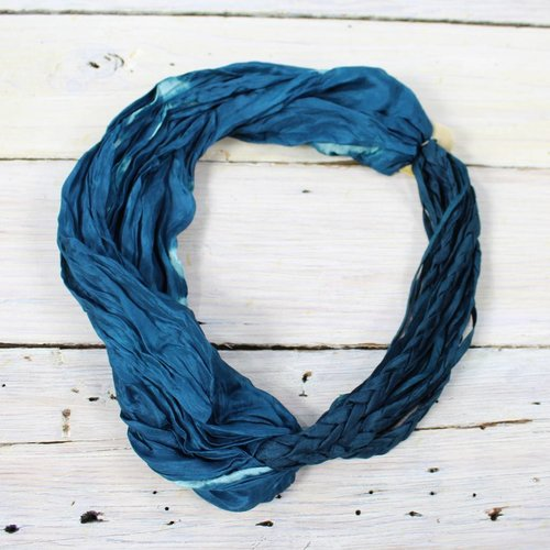 Braided Scarf Necklace - Teal