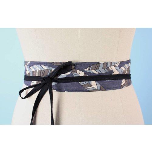 Sarah Bibb Mini Obi Belt- Grey Leaf/Blk Tie