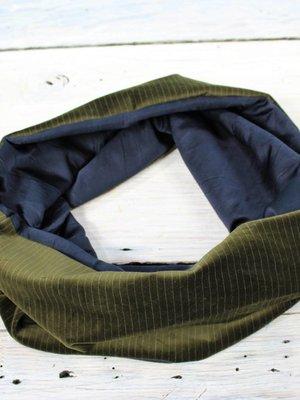 Sarah Bibb Single Loop Infinity Scarf - Olive Pin Velvet/Navy