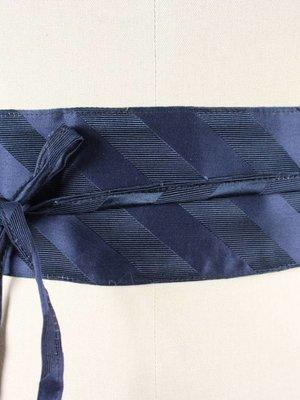 Sarah Bibb Obi Belt by Sarah Bibb - Navy Silk Stripe