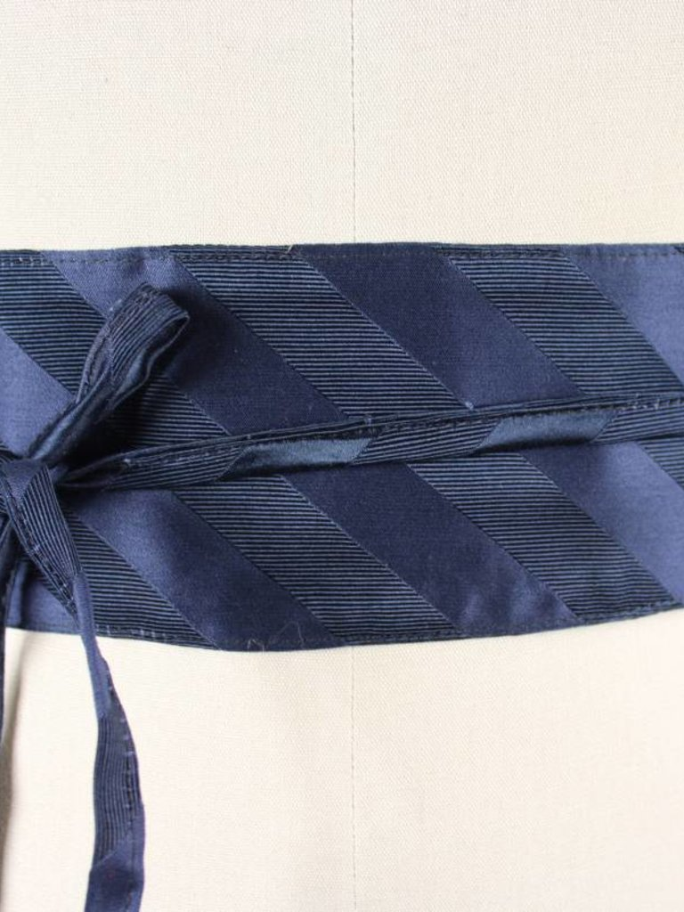 Sarah Bibb Obi Belt by Sarah Bibb - Navy Silk Stripe