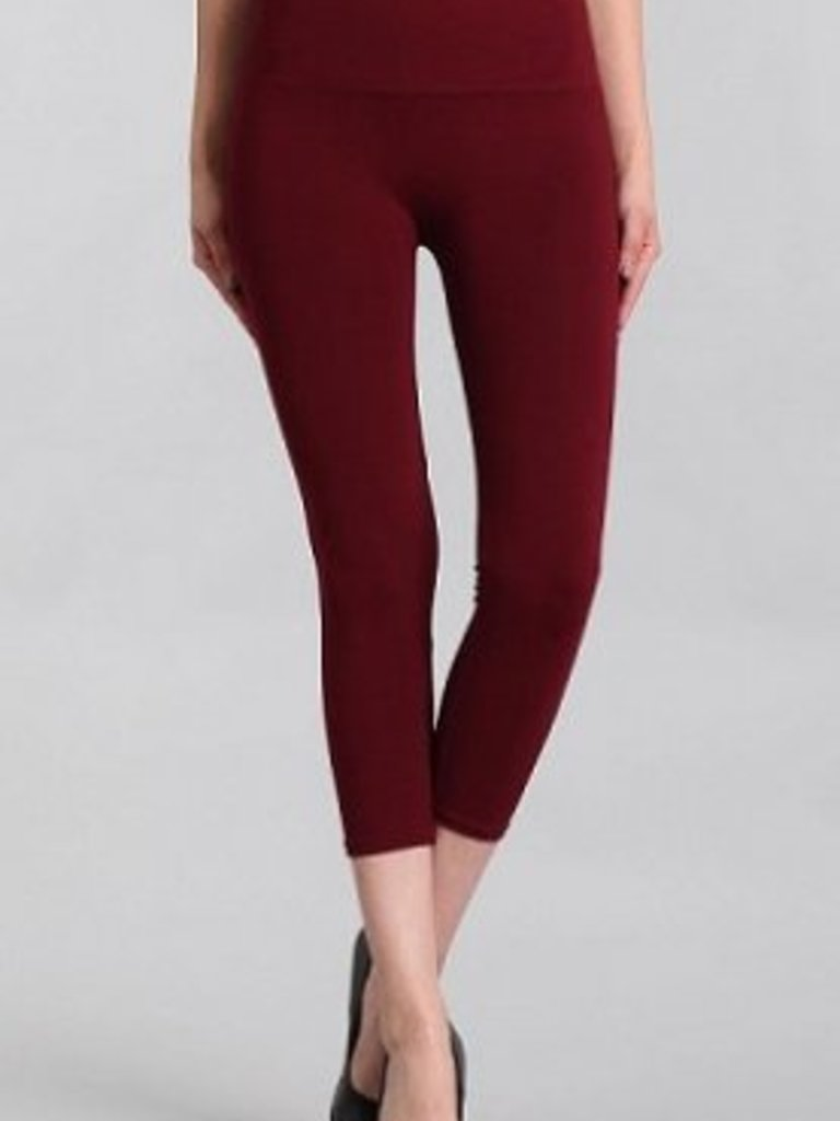 M Rena Tummy Tuck Cropped Leggings  - Burgundy