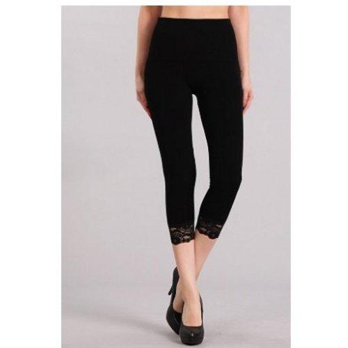 M Rena Tummy Tuck Cropped Leggings LACE Trim -Black