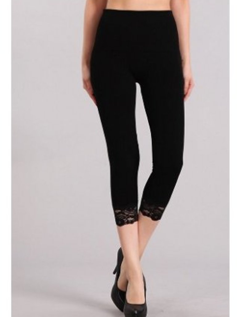 M Rena Tummy Tuck Cropped Leggings LACE Trim -Black