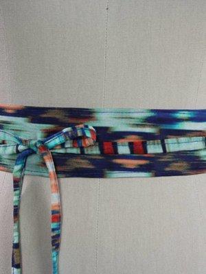 Sarah Bibb Mini Obi Belt- Aqua Painterly
