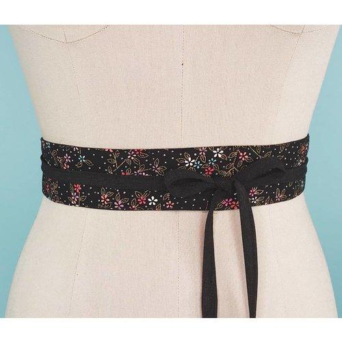 Sarah Bibb Mini Obi Belt-  Nightbloom with Coal Ties