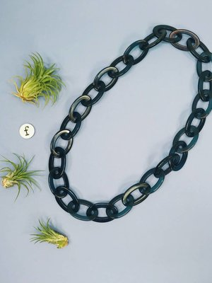 Ink & Alloy Lucite Oval Chain - Peacock