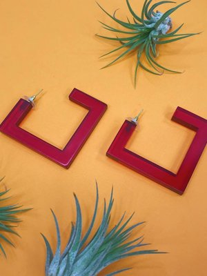 Ink & Alloy Lucite Square Hoop - Ruby